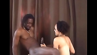 Horny stud getting his huge hard black dick sucked by cute babe