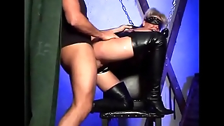 Masked bitch in leather slammed by horny man