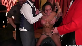 At bdsm party babes suffering rough sexual relations