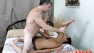 Young gay Asian dreams of bareback with daddy before cumming