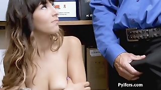 Sexy caught tattooed Latina sucks dick at office