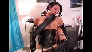 Hot slut in leather lingerie fucked by a hard cock