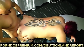 DEUTSCHLAND REPORT - Tattooed redhead in her 40s sucks dick and rides it be beneficial to amateur German porn