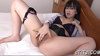 Pretty japanese receives explicit tits mashing and toying