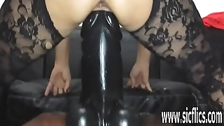 Sarah fucks a colossal dildo apropos their way greedy pussy